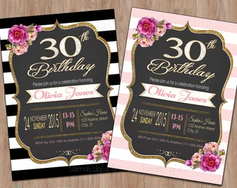 30th Birthday Invitation For Women Her Invite Female