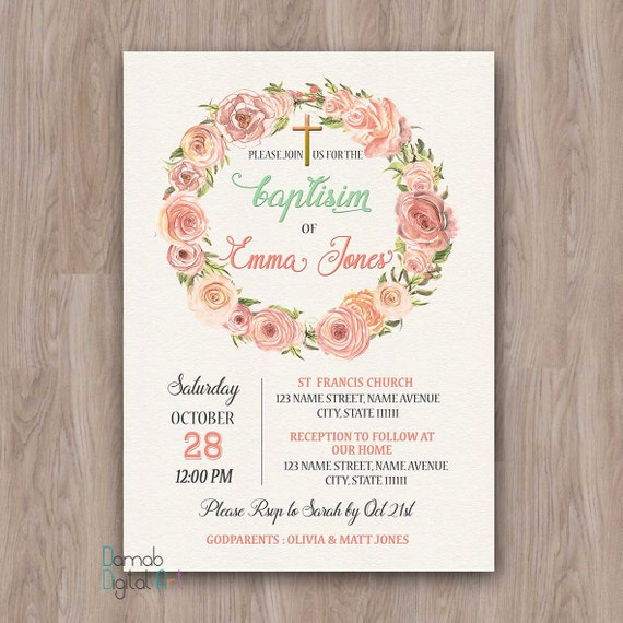 baptism invitation girl baptism invitation printable baptism etsy