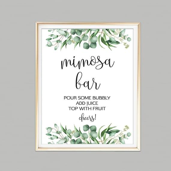 Greenery Mimosa Bar Sign