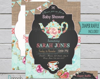 Tea party baby shower invitation, floral tea party, baby shower tea party invitation, Tea Party Shower, tea party invitation, High tea girl