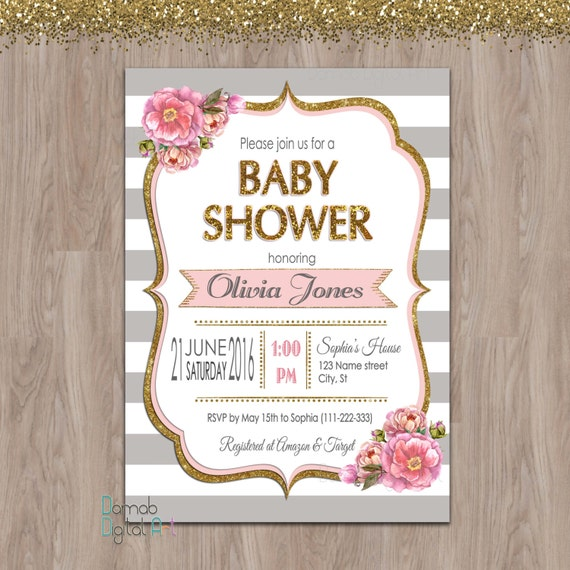 Pink and grey baby shower invitation baby shower invitation etsy image 0 filmwisefo