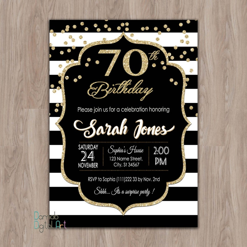 70th Birthday Invitation Party Invitations