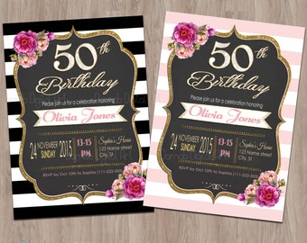 50th Birthday Invitation, 50th Birthday Invitation for Women, 50 and Fabulous Invitations, Fifty and Fabulous, 50th Birthday Invites