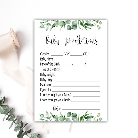 BABY PREDICTION CARDS Greenery, predictions for baby printable, baby  prediction game, green leaves baby shower games, boy girl shower G04
