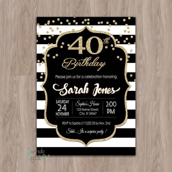 40th birthday invitation women 40th birthday invitation for etsy