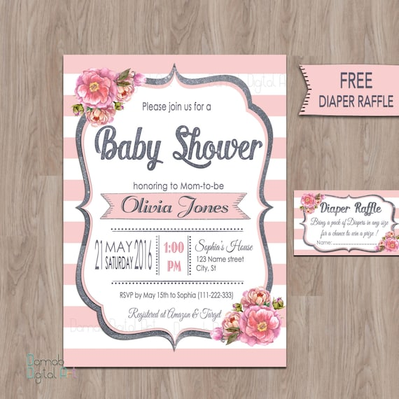 Pink gray baby shower invitations pink baby shower etsy image 0 filmwisefo