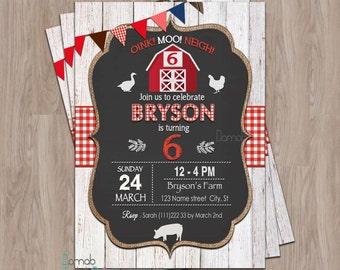 Farm Birthday Invitation, Farm Birthday, farm animal birthday invitation, farm party invitations, Farm Invitation, Barnyard Invitation