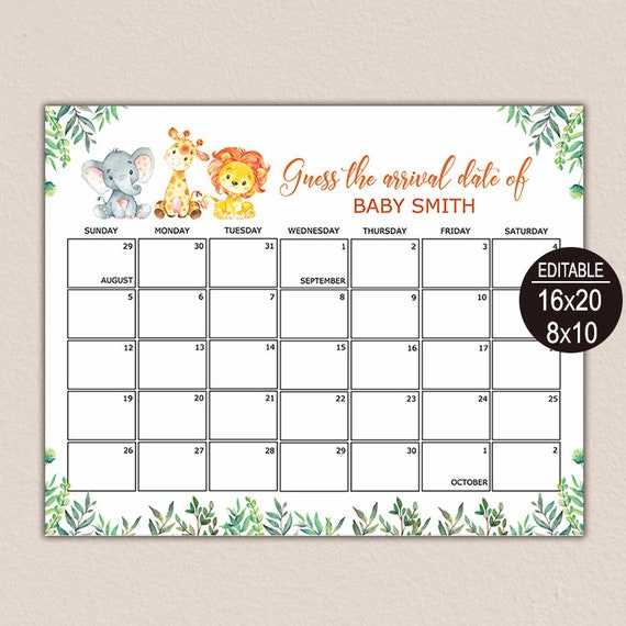 Baby Shower Game Greenery Baby Shower Printable Due Date Game Due Date Calendar Game Guess Baby/'s Birthday Editable Birthday Prediction