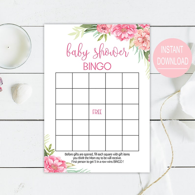 photograph about 50 Free Printable Baby Bingo Cards identify Female little one shower bingo playing cards printable, little one bingo recreation electronic, Red floral youngster shower recreation, boho spring little one shower bingo template G14