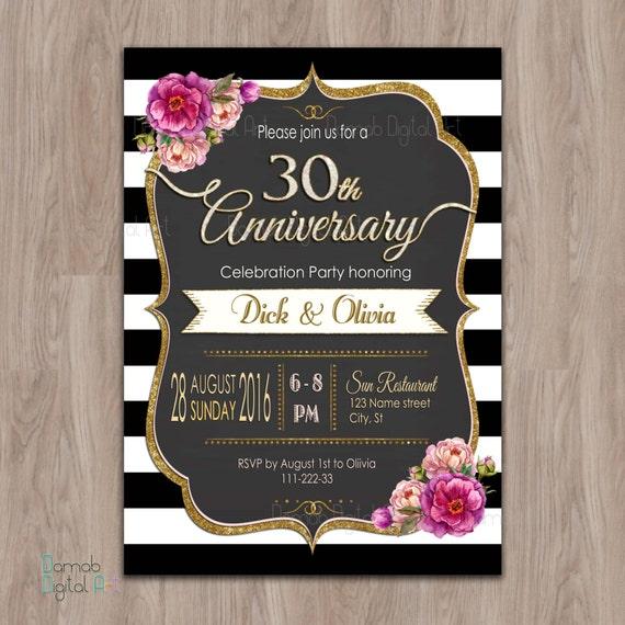 30th Wedding Anniversary Invitations: Items Similar To 30th Anniversary Invitations, 30 Year