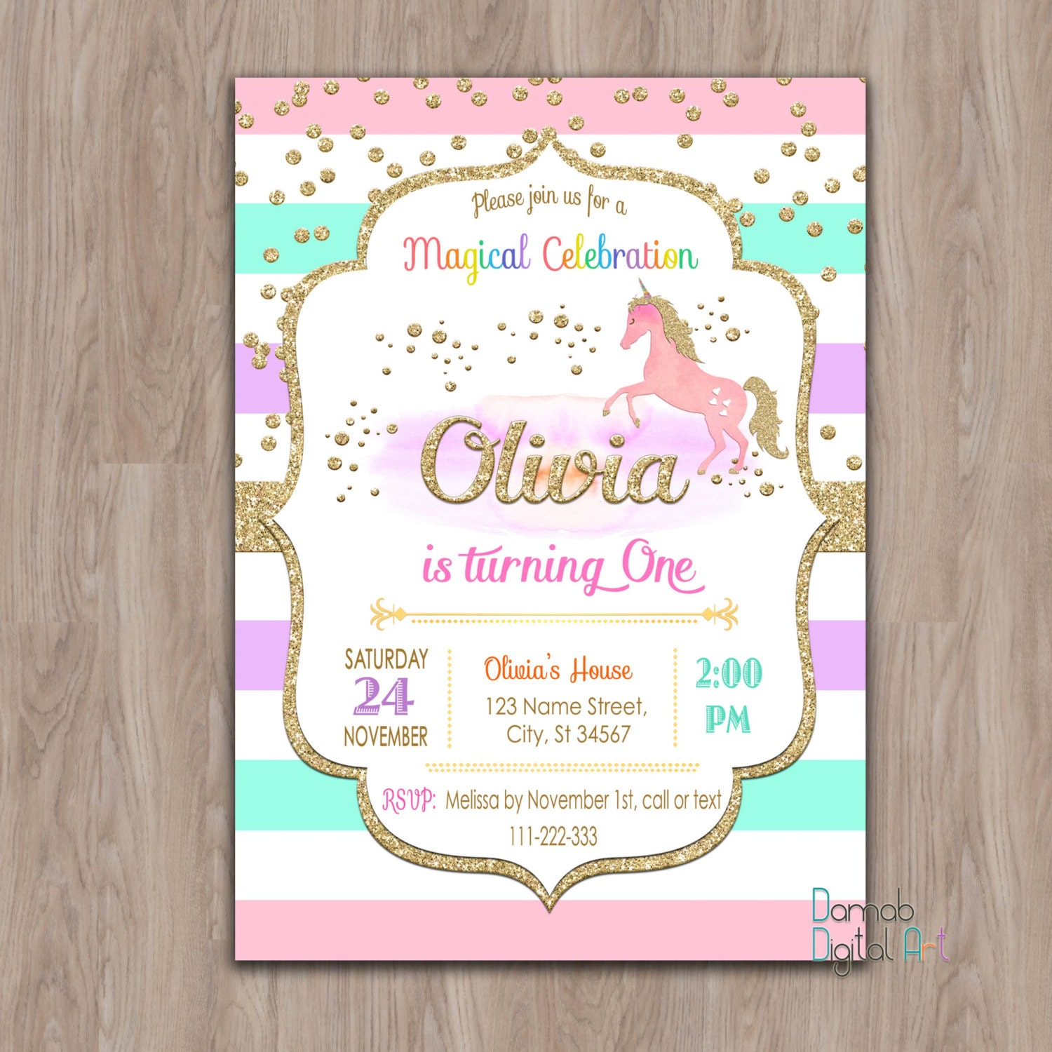 Unicorn Birthday Invitation Unicorn invitation unicorn Etsy