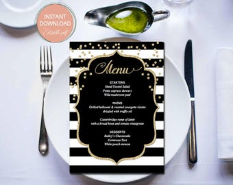Printable Wedding Menu, Wedding Menu Template, Black Gold Menu Cards, Menu Template, Wedding Menu Cards, instant download, editable pdf #B12