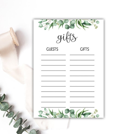 photo about Bridal Shower Checklist Printable called Present Record, Greenery Bridal Shower Present Checklist, Child Shower Present Record, Visitor checklist printable, Reward Record printable, immediate obtain pdf G04