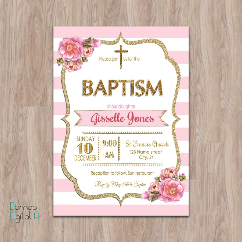 Pink And Gold Baptism Invitation Baptism Invitation Girl Etsy