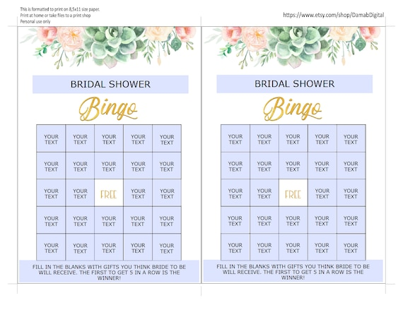 editable bingo cards bridal shower bingo cards downloads etsy