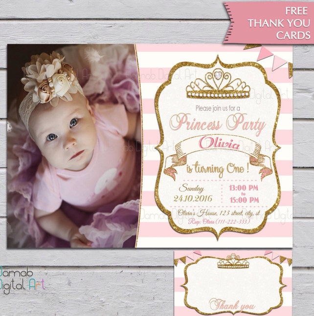 Princess Birthday Invitation 1st 2nd 3rd Girls Party Pink White Gold