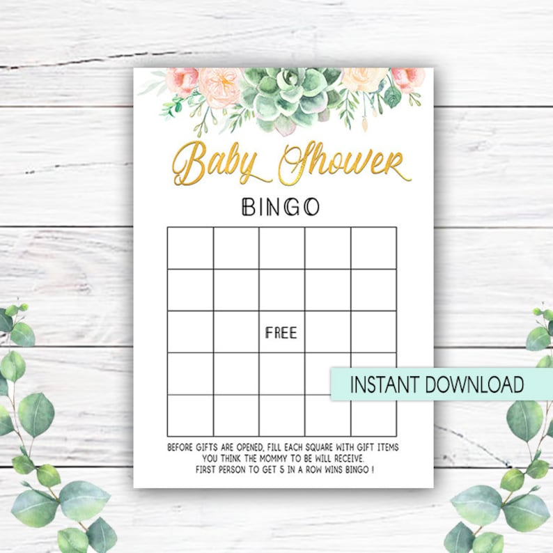 graphic about 50 Free Printable Baby Bingo Cards titled Kid Shower Bingo Playing cards, kid shower bingo printable, youngster bingo playing cards, kid bingo activity, Succulents kid shower online games, Backyard Bouquets G01