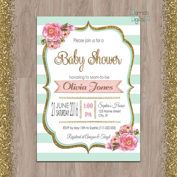 Mint Baby Shower Invitation Gold