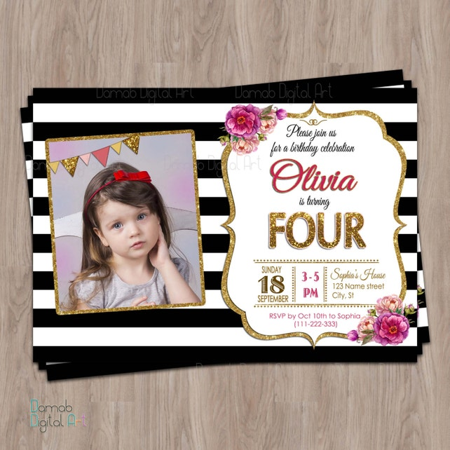 4th Birthday Invitation Fourth Photo 4 Year Old Girl