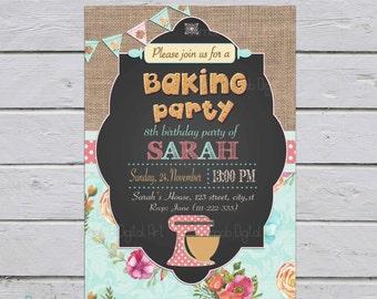 Baking party Invitation, bake party invitation, baking Invitation, cake decorating invitation, cake decorating party, cooking birthday party