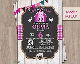 Farm Birthday Invitation, Farm Birthday Girl, farm animal birthday invitation, farm party invitations, Farm Invitation, Barnyard Invitation