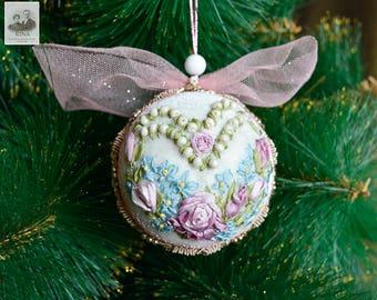 Christmas Silk Ribbon Embroidered Ball Ornament. Decoration, Christmas, Wedding, Gift, Birthday, Anniversary