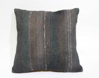 Black Kilim Pillow Sofa Pillow Throw Pillow 18x18 Turkish Kilim Pillow  Decorative Kilim Pillow Cushion Cover SP4545 2028