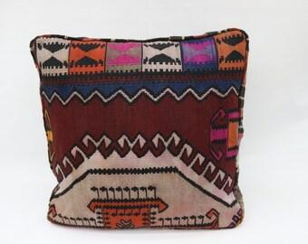 Turkish Kilim Pillow 12x20 Nomadic Pillow Throw Pillow SP3050 3442 Orange Pillow Striped Pillow Handmade Pillow Lumbar Pillow Covers