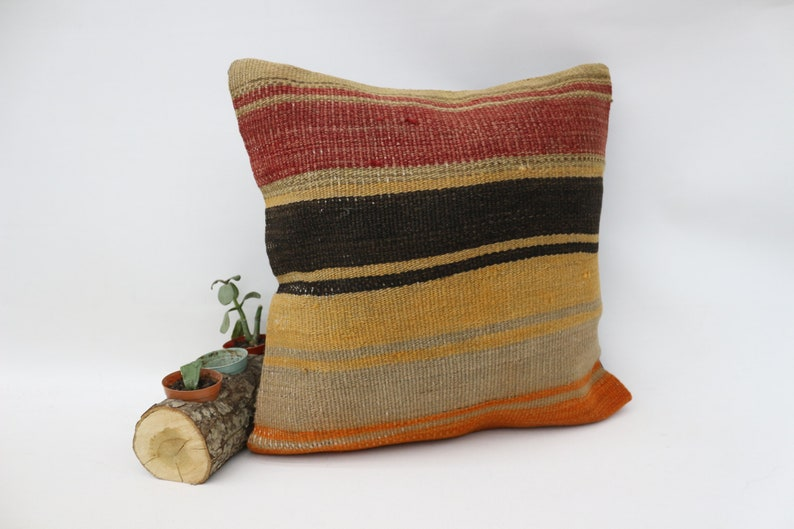 Gift Pillow SP4040 9497 Striped Pillow Yellow Pillow 16x16  Cover,Wholesale Pillow,Kussenhoe,Natural Pillow,Handmade Pillow,Turkish Pillow
