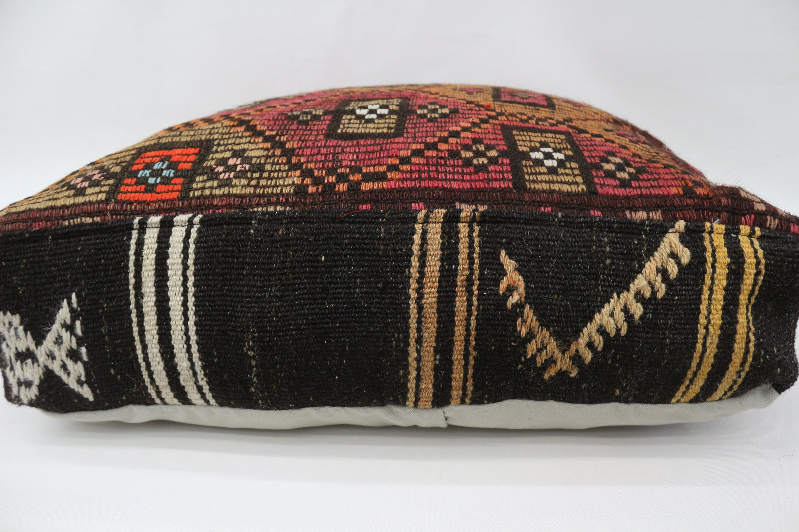 Embroidered Kilim Pouf,Floor Puff,24x24x6 Pear Seat,Pink Pouf,Pear Pouf,Floor Pillow Cover,Garden Pouf Pillow,Home Decor Puffs SP606015 215
