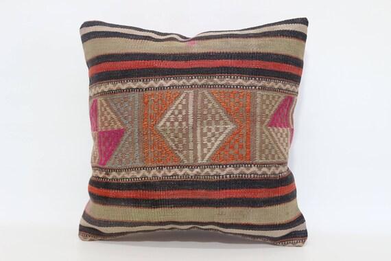 Vintage Kilim turc coussin canapé oreiller 18 x 18 Anatolie Kilim coussin Kilim décoratif oreiller Coussin housse de SP4545