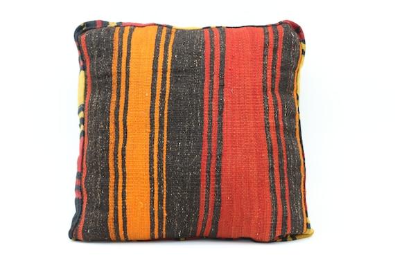 Kilim Pouf Cover,Floor Cushion Cover,24x24x6 Kilim Pouf Cover,Pillow,Turkish Floor Kilim Cushion Pillow SP606015 22