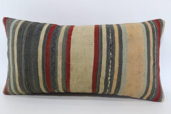 Housse de coussin lombaire, coussin lombaire en Kilim Kilim 12 x 24 oreiller, coussin décoratif Vintage Kilim turc oreiller, Boho oreiller, oreiller de lit SP3060-1031