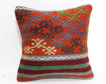 Decorative Embroidered Kilim Pillow Throw Pillow Sofa Pillow Home Decor 14x14 Ethnic Kilim Pillow Floor Pİllow Cushion Cover SP3535-247