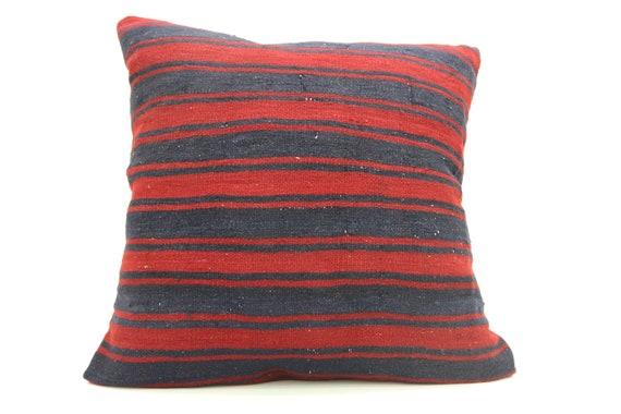 Housse de coussin Kilim rouge, coussin rayé, Boho oreiller, coussin turc, coussins, oreiller de grandes tailles, 32 x 32 coussin, oreiller de laine, SP8080-231