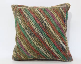 Turkish Kilim Pillow Floor Pillow Anatolian Kilim Pillow 16x16 Embroidered Kilim Pillow Home Decor Cushion Cover  SP4040-2626