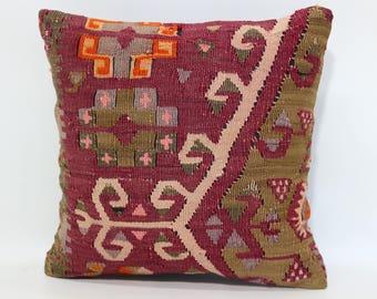 Anatalian Kilim Pillow Sofa Pillow Floor Pillow 14x14 Naturel Kilim Pillow Decorative Kilim Pillow Home Decor Cushion Cover  SP3535-316
