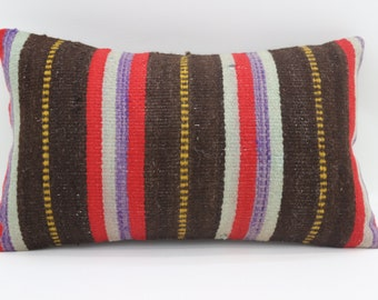 12x20 Kilim Pillow Cover Striped Pillow Turkish Decorative Kilim Pillow Handmade Pillow throw Pillow 12x20 Indoor Kilim Pillow  SP3050-1950