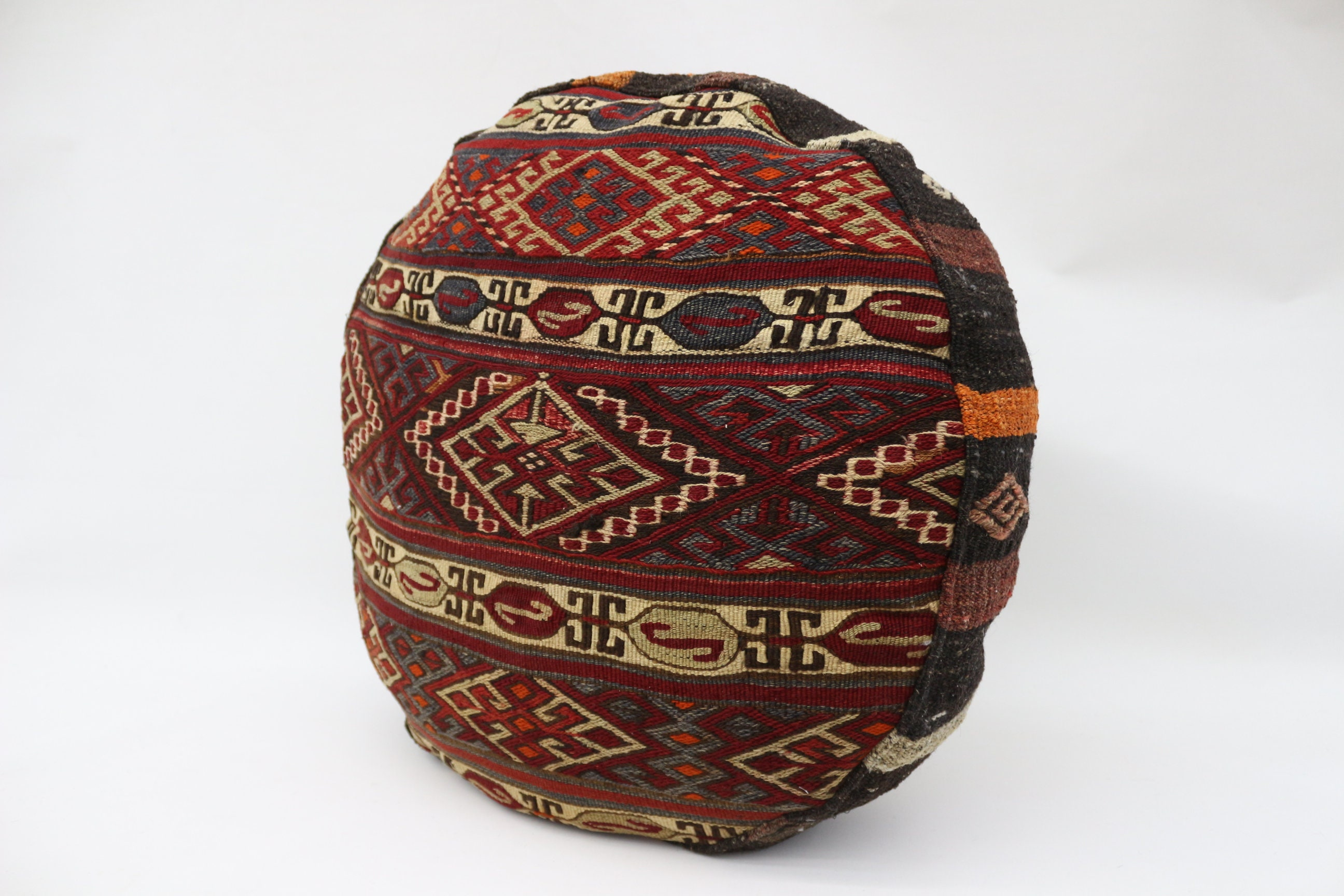 Embroidered Kilim Pouf,Camping Puff,24x24x6 Pear Seat, Brown Pouf,Circle Pouf,Floor Pillow Cover,Garden Pouf Pillow,Round Puffs SP606015 75