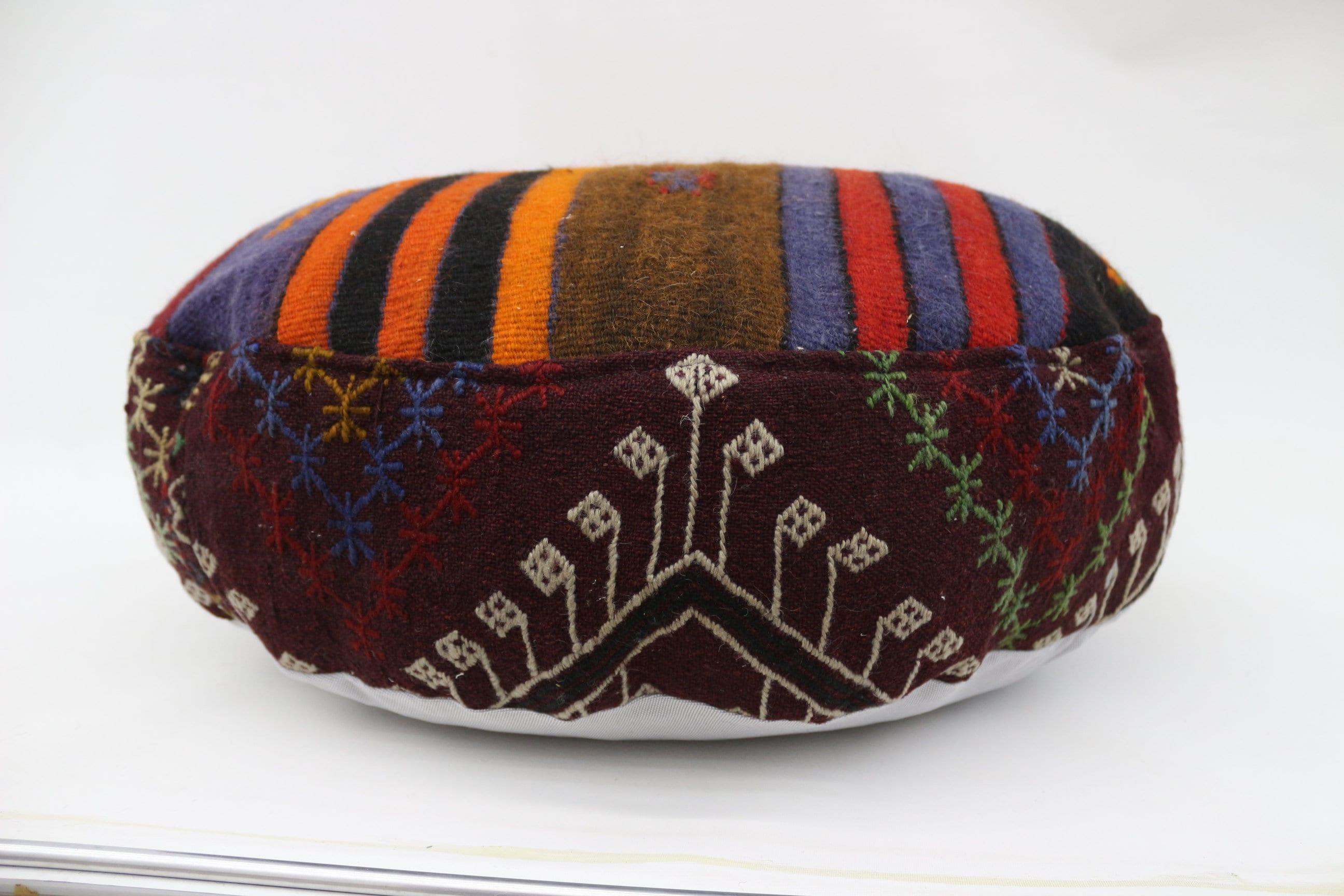 Striped Kilim Pouf,Camping Puff,24x24x6 Pear Seat,Brown Pouf,Circle Pouf,Floor Pillow Cover,Garden Pouf Pillow,Round Puffs SP606015 68