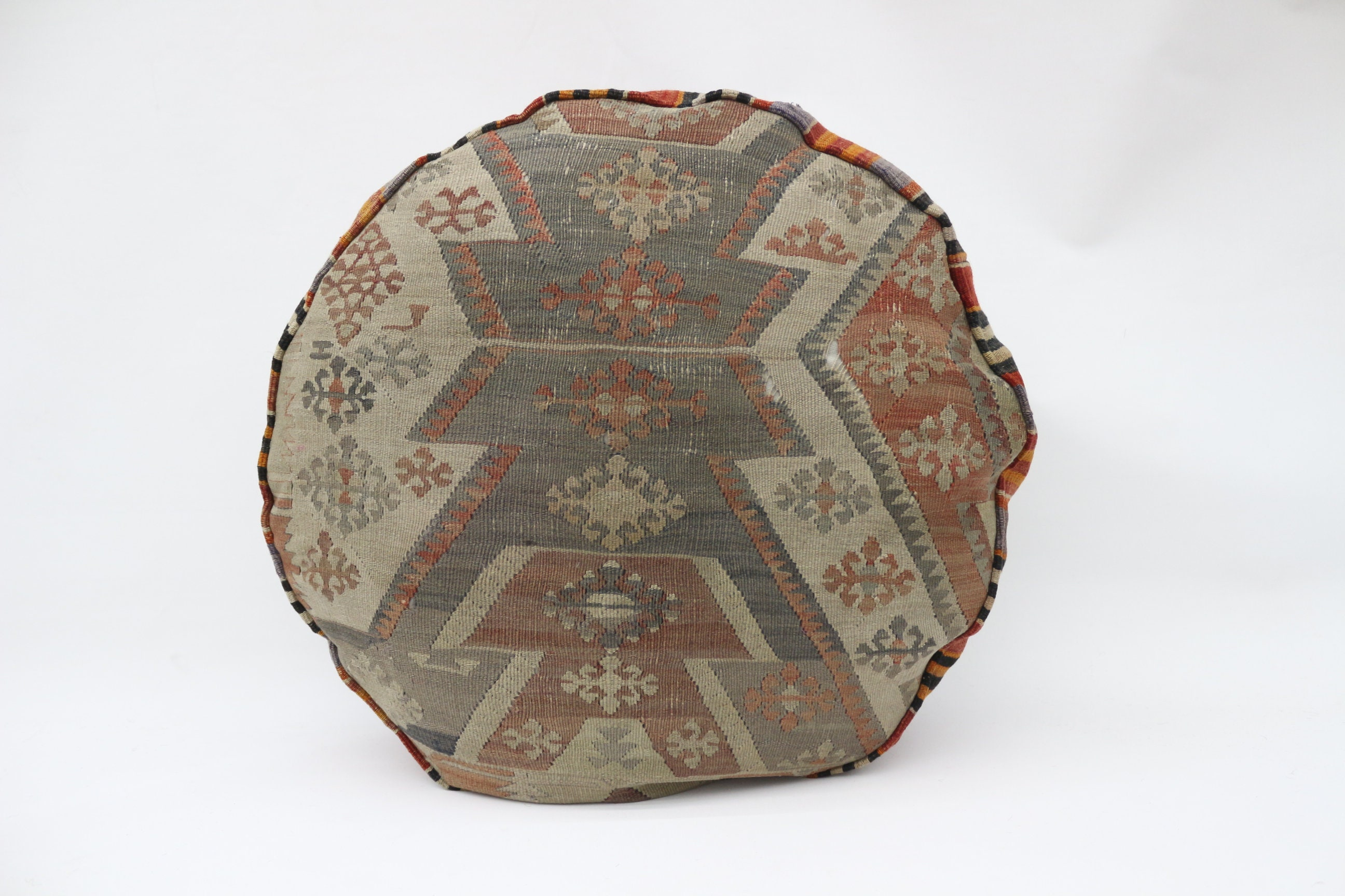Geometric Kilim Pouf,Camping Puff,24x24x6 Pear Seat,Orange Pouf,Circle Pouf,Floor Pillow Cover,Garden Pouf Pillow,Round Puffs SP606015 17
