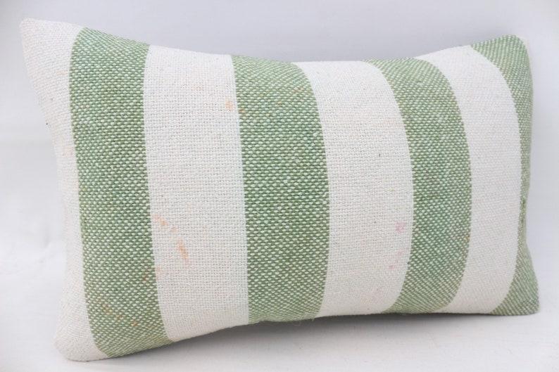12x20 Kilim Pillow Cushion Cover Striped Pillow SP3050 2957 Lumbar Throw Pillow Antique Pillow Decorative Pillow Green Pillow