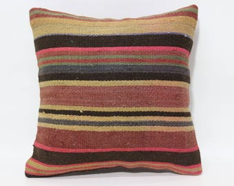 12x12 Decorative Kilim Pillow Sofa Pillow Bed Pillow 14x14 Striped Kilim Pillow Throw Pillow Ethnic Pillow  SP3030-1