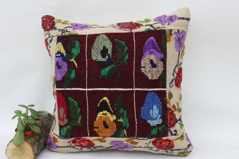 18x18 Organic Pillow,Floral Pillow Covers Green Pillow Embroidered Pillow Sofa Pillow,Throw Pillow SP4545 5863 Outdoor Kilim Pillow