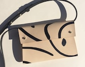 "Handmade leather clutch bag SASHA ""Shapes"" - Natural & Black - Can be personalised"