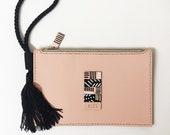 Handmade wristlet leather clutch bag - SELMA Pink/Peach - One of a kind