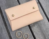 Personalised handmade leather wedding ring holder / ring pouch - Natural