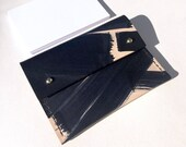 "Handmade small leather wallet / card holder with coin pocket - MAYA ""Ink Brushed"""