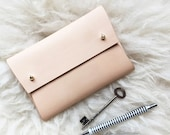Personalised handmade leather pouch - MISHA - Natural