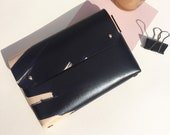 Personalised folded handmade leather pouch - MONA Ink brushed - Natural and Black